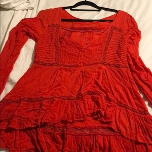Free people orange red lace tunic